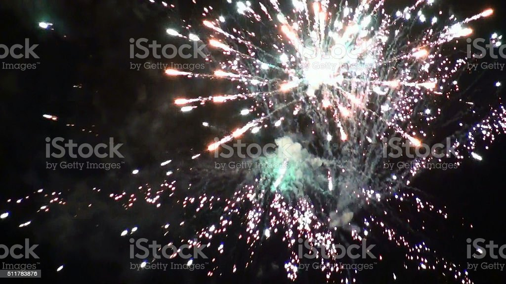 Amazing View Of Party Fireworks In The Night stock photo