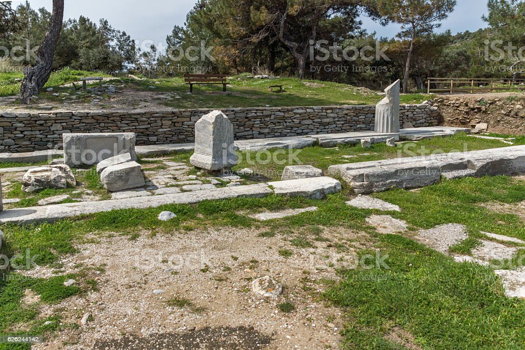 Amazing view of Ruins in Archaeological site of Aliki, Greece stock photo
