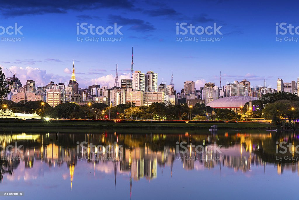 Amazing view of Sao Paulo city from Ibirapuera Park , Brazil stock photo