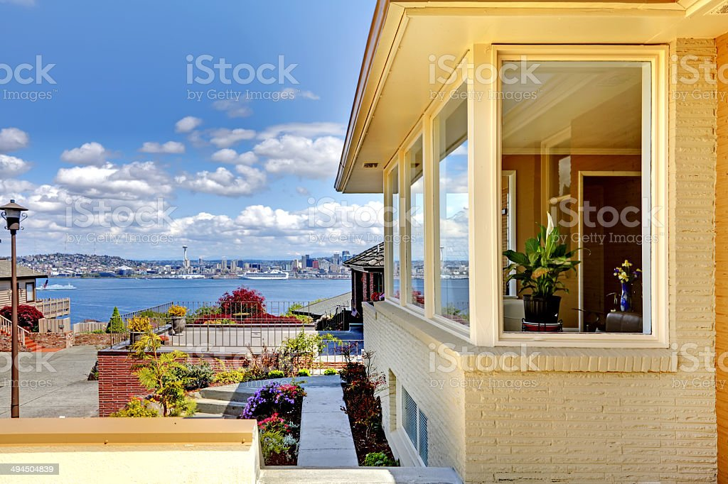Amazing view of Seattle from modern house exterior. stock photo