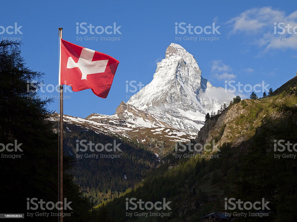 Amazing view of snow-covered Alps in Switzerland stock photo