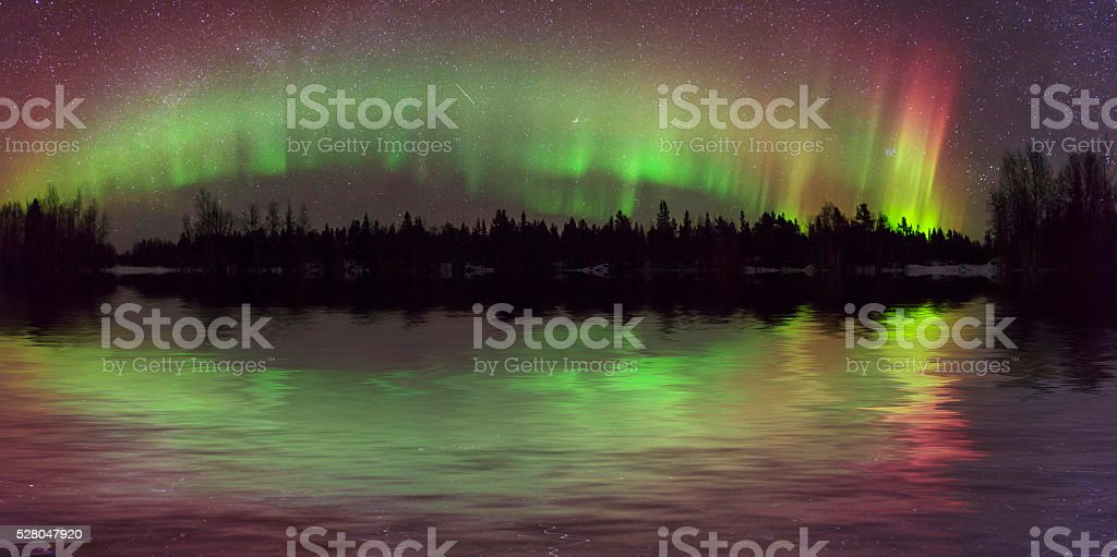 Amazing view of the aurora borealis stock photo