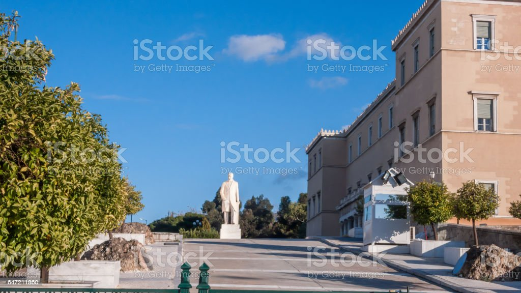 Amazing view of The Greek parliament in Athens, Attica, Greece stock photo