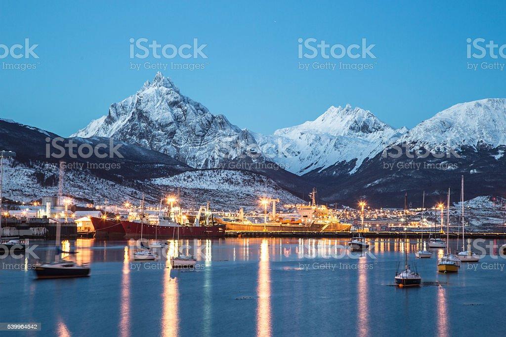Amazing view of Ushuaia city at night stock photo