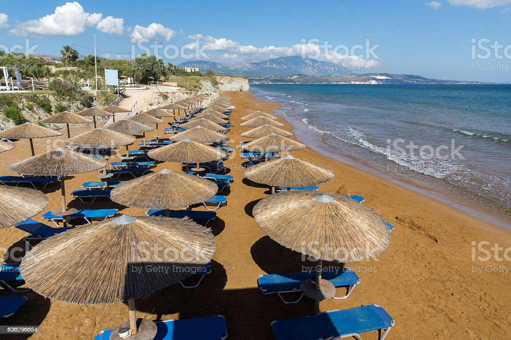 amazing view of Xi Beach,beach with red sand in Kefalonia stock photo