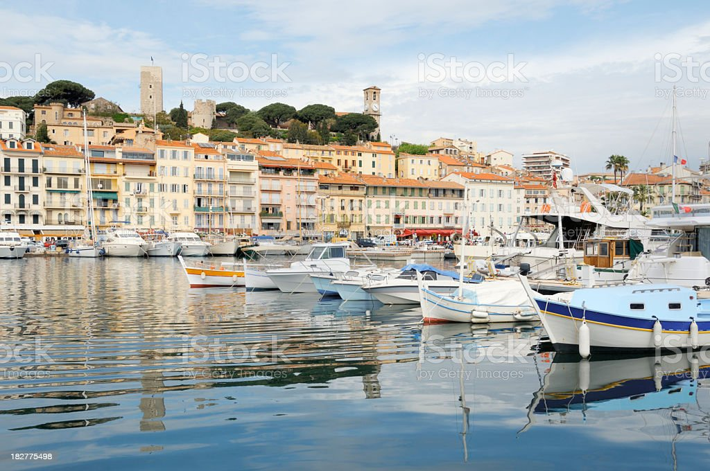 Amazing view of yachts and buildings in Cannes royalty-free stock photo