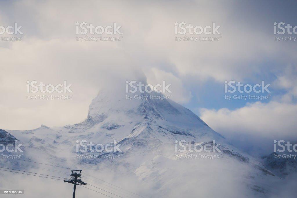 Amazing view on Zermatt - famous ski resort in Swiss Alps, with aerial view on Zermatt Valley, Switzerland stock photo