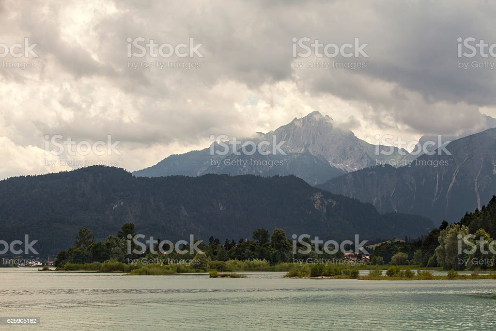 Amazing views from the Forggensee lake in Germany stock photo