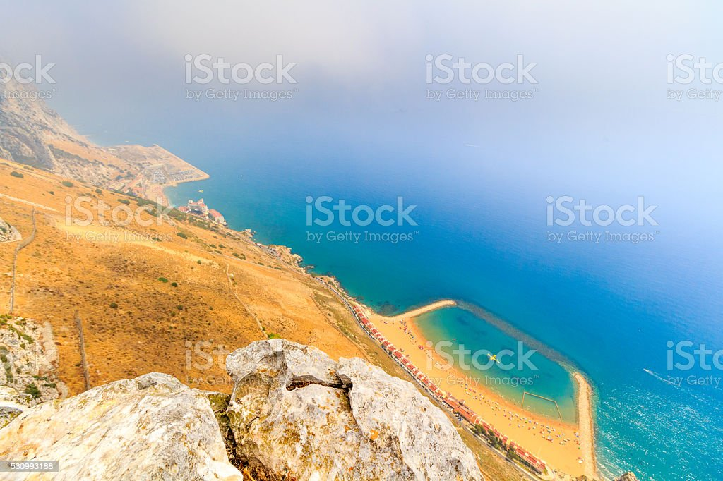 Amazing Vista from the top of the Rock of Gibraltar stock photo