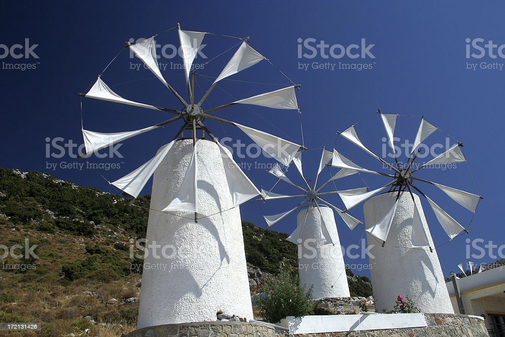 Amazing windmills in Greece stock photo