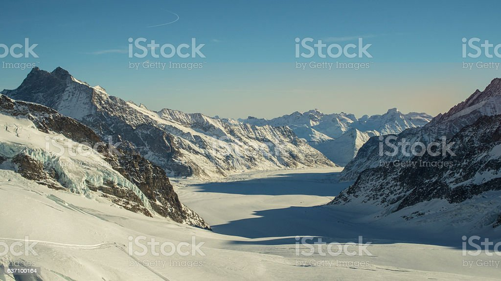 Amazing winter landscape Jungfraujoch, top of Eurpoe stock photo