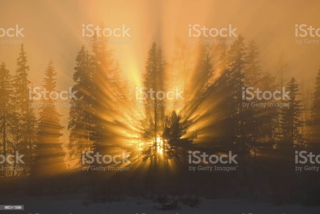 amazing winter sunset scene stock photo