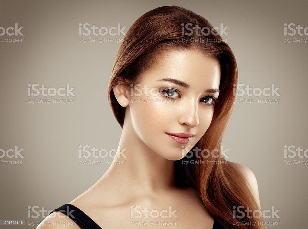 Amazing woman portrait. Beautiful girl model fashion stock photo
