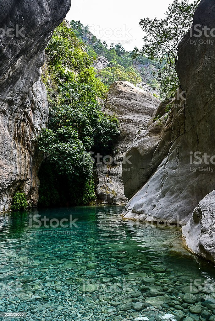 amazingly beautiful blue river in the canyon stock photo