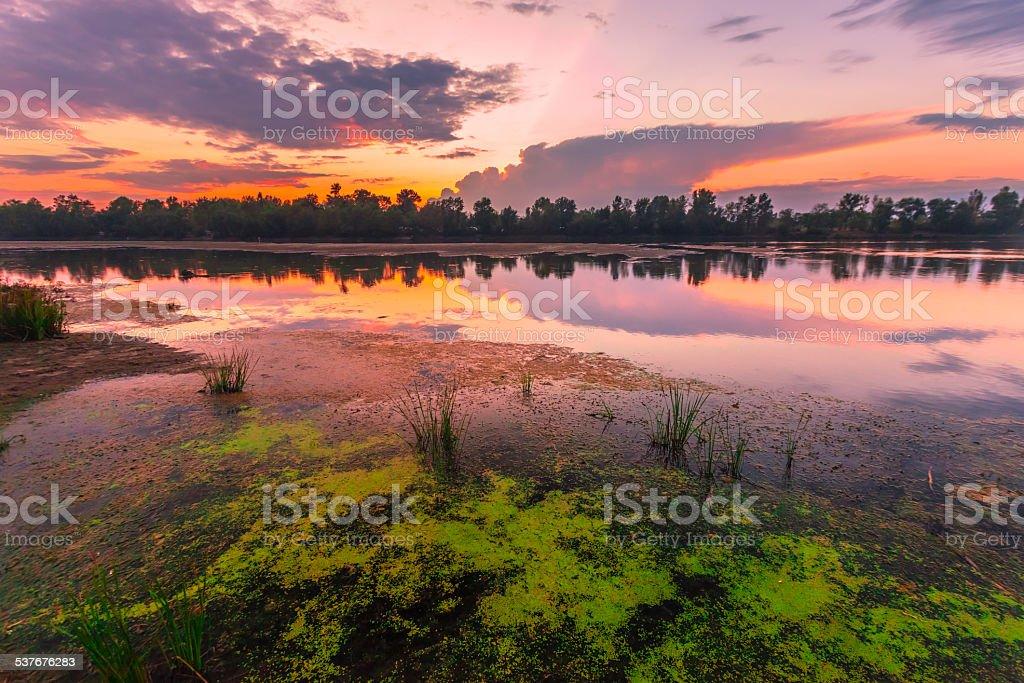 Amazingly colorful sunset stock photo