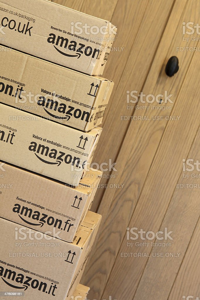 Amazon Delivery at the Door stock photo