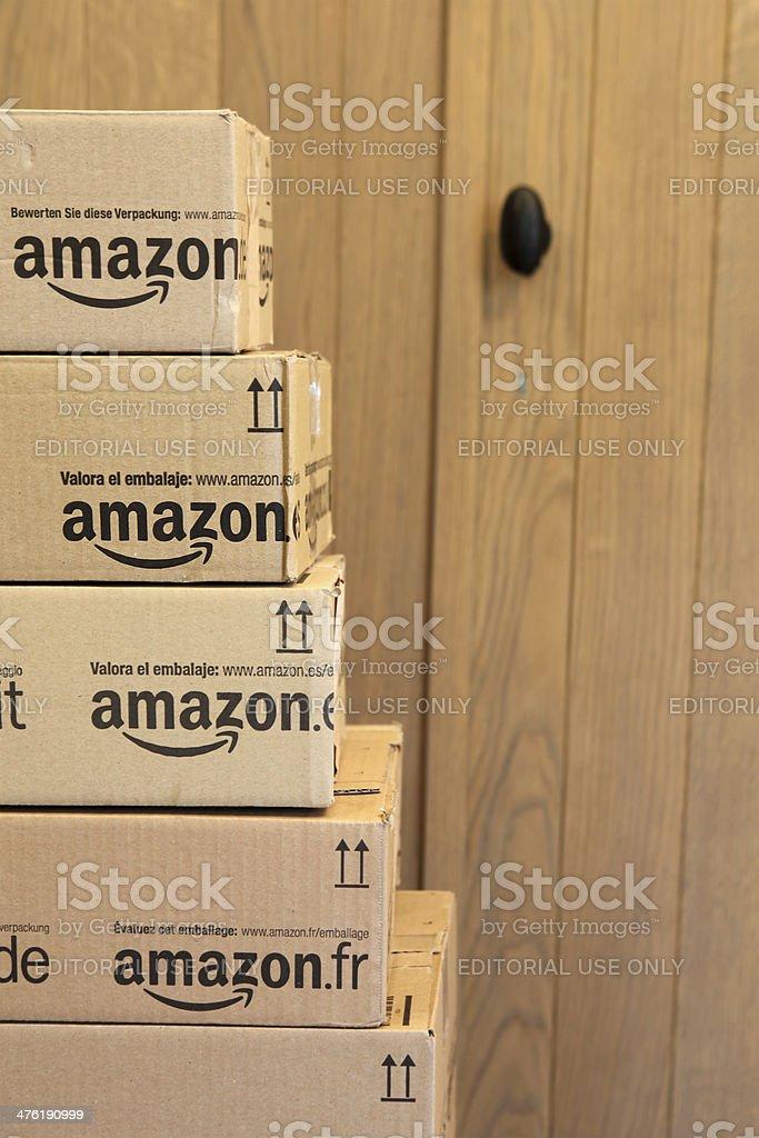 Amazon Delivery Boxes stock photo
