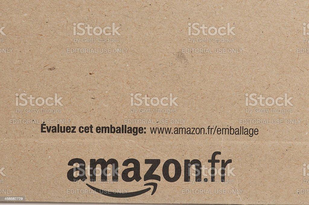 amazon france logo on cardboard shipping envelope stock photo