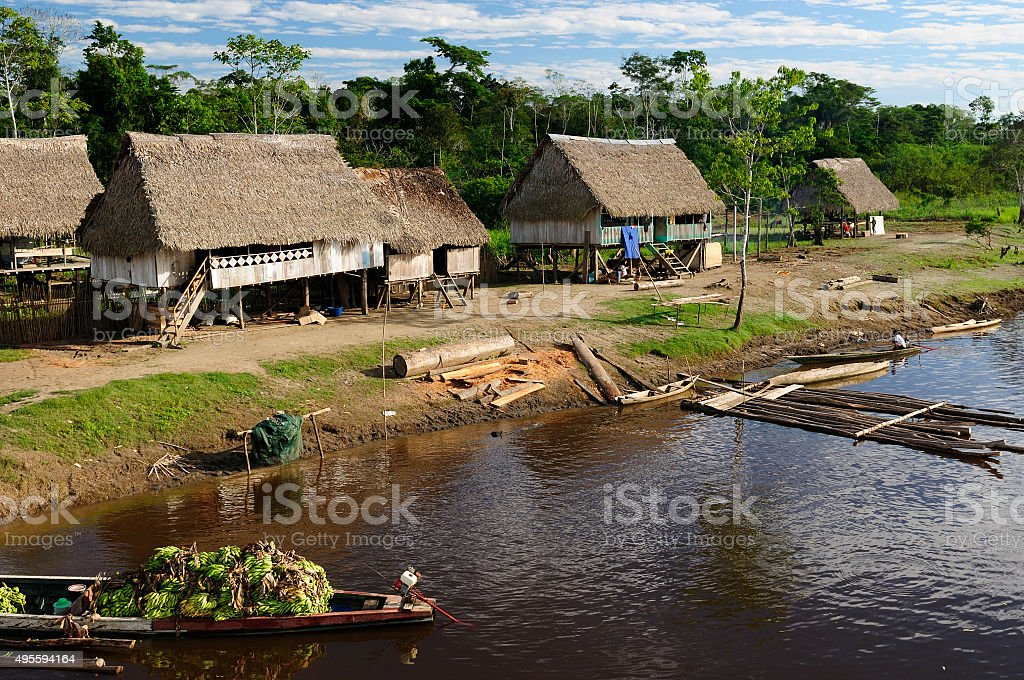 Amazon indian tribes in Peru stock photo