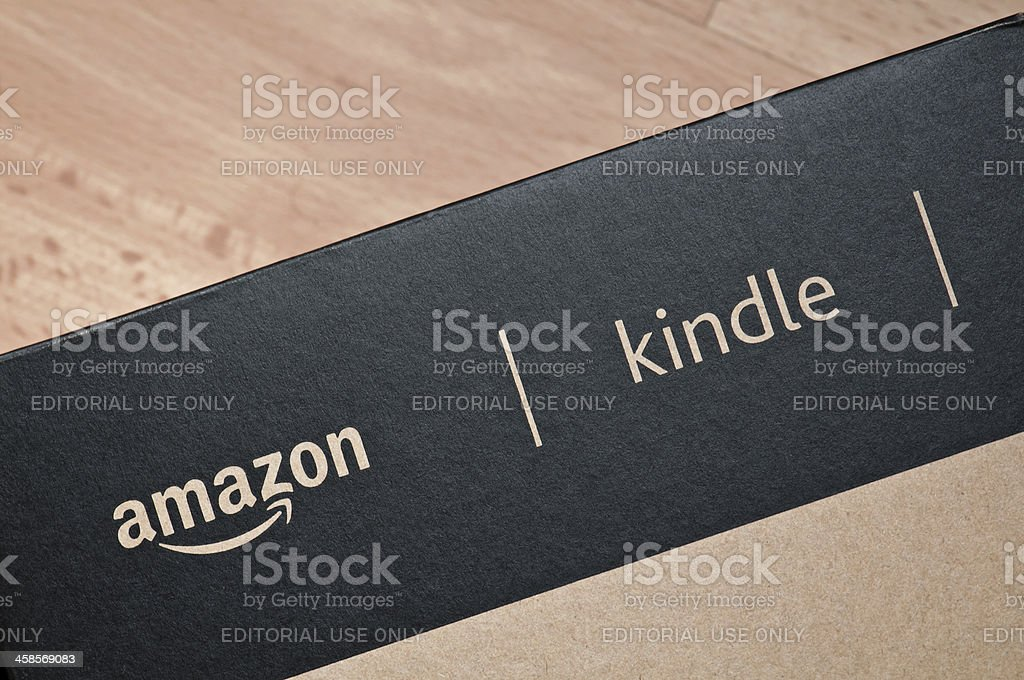 Amazon Kindle ebook reader delivery box detail stock photo