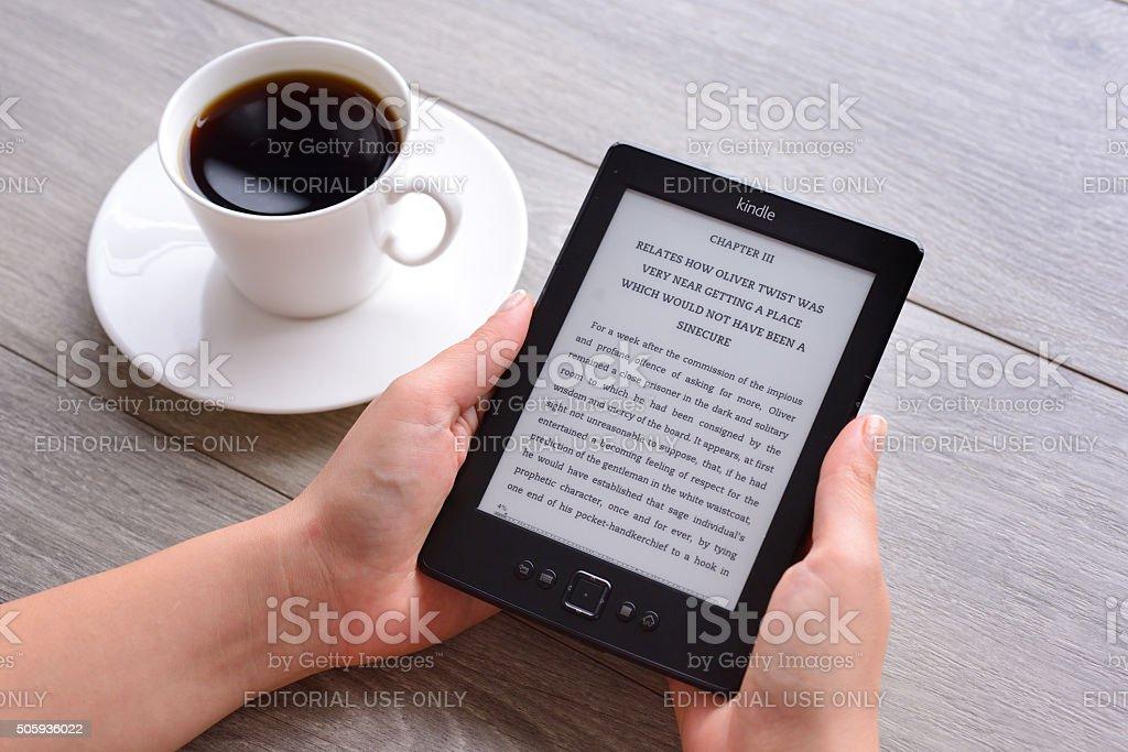 Amazon Kindle e-reader stock photo