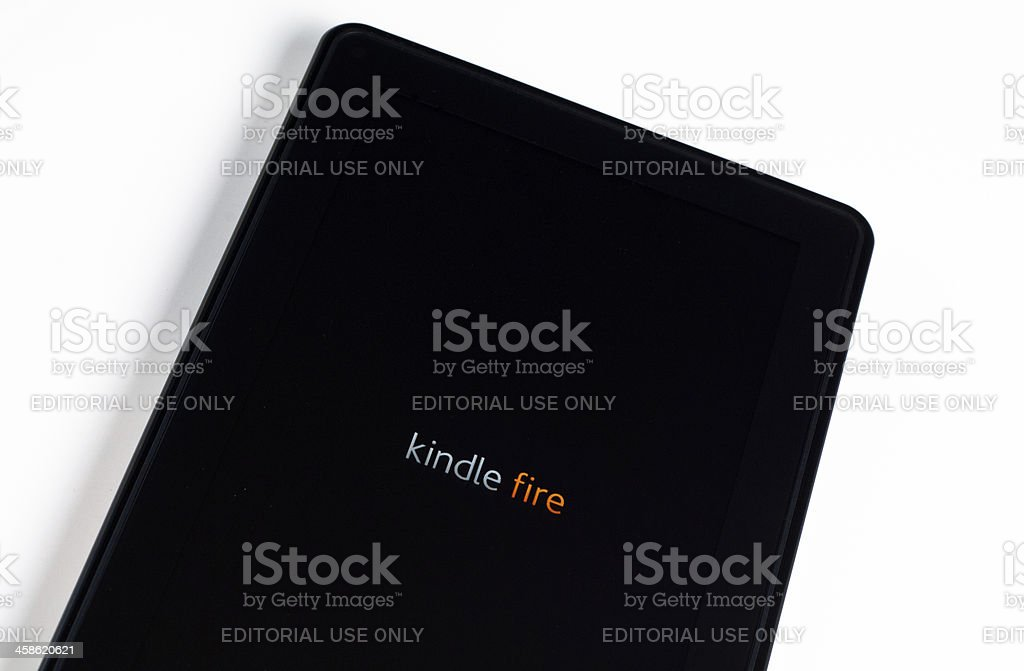 Amazon Kindle Fire tablet isolated on white stock photo