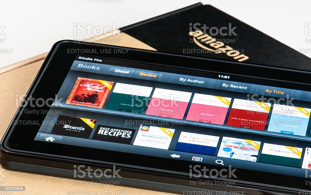 Amazon Kindle Fire tablet on a box. stock photo