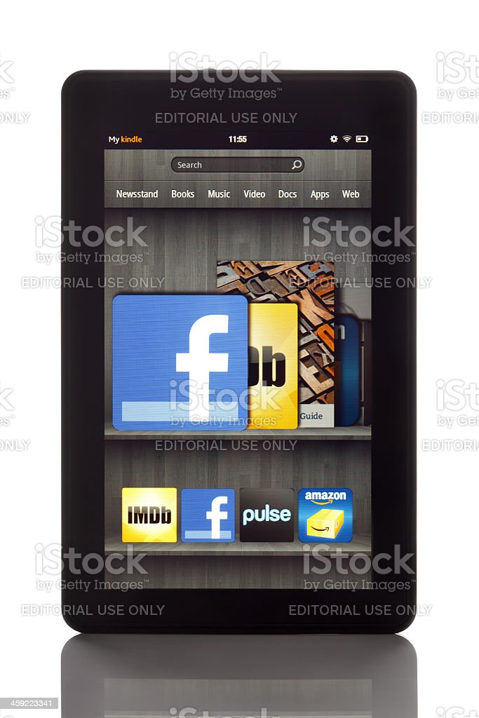 Amazon Kindle Fire with clipping paths stock photo