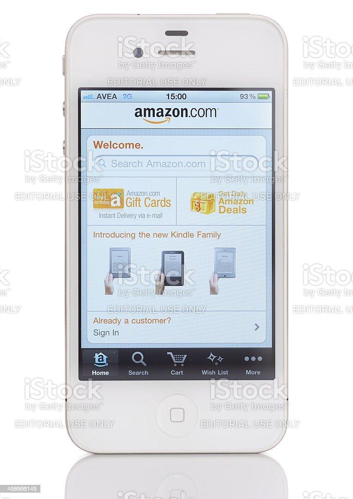 Amazon on iPhone 4 stock photo