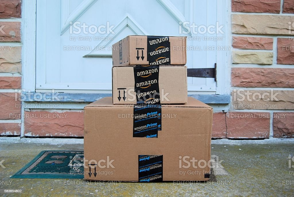 Amazon Packages stock photo
