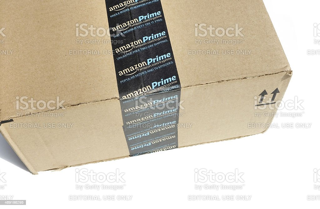 Amazon Prime shipping package stock photo