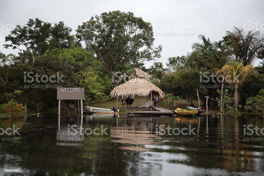 Amazon Rainforest and Amazon Jungle river lodge, Brazil stock photo
