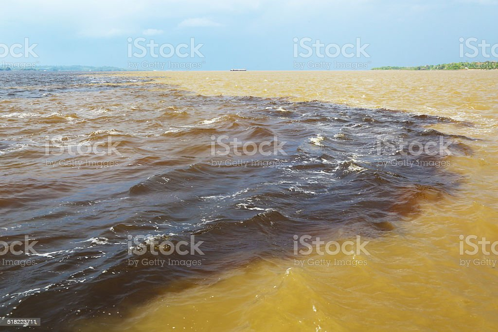 Amazon & Rio Negro waters not mixing, Brazil stock photo