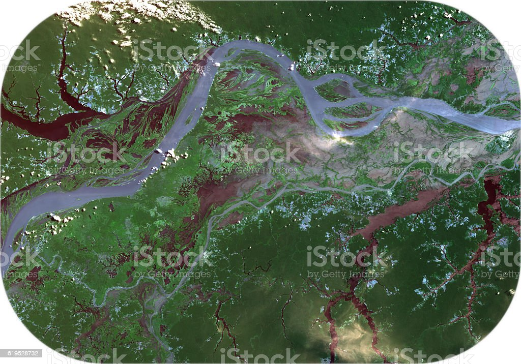 Amazon river from Landsat satellite. stock photo