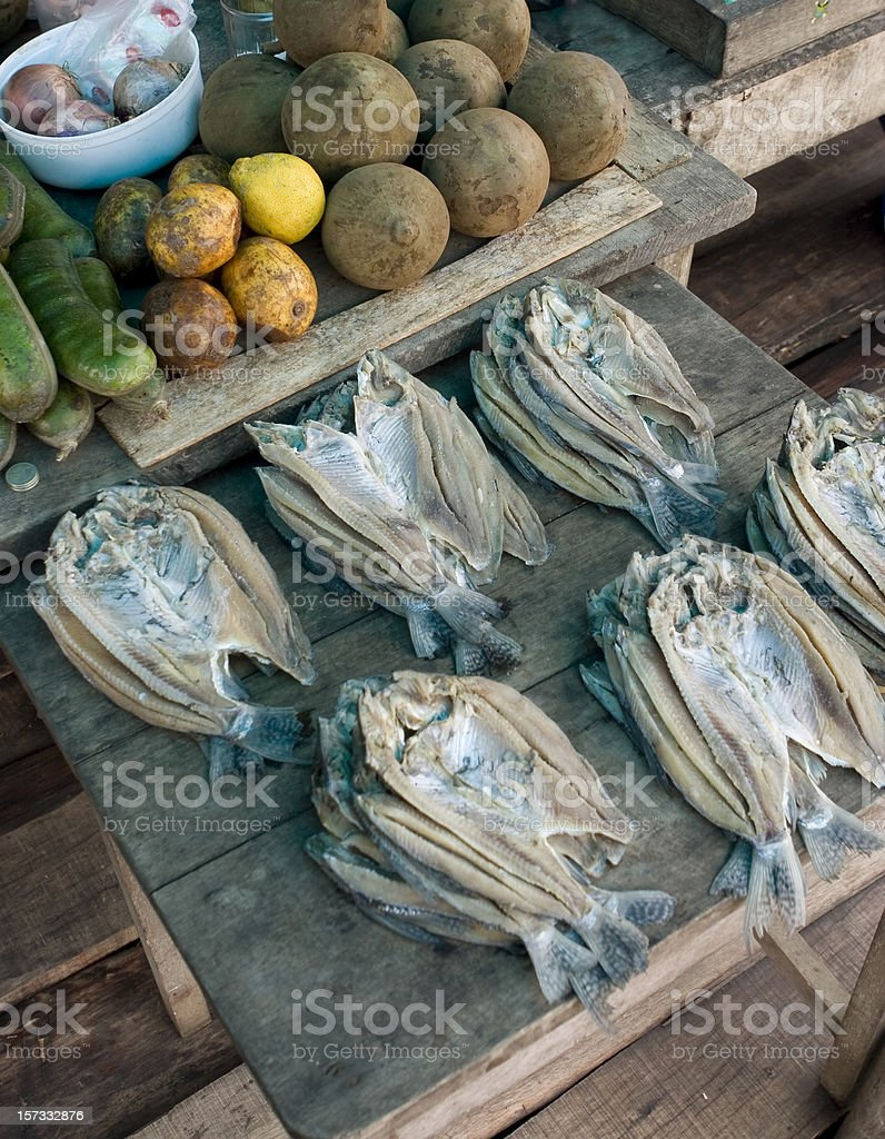 Amazon river market stall with fish and fruit at Iquitos stock photo