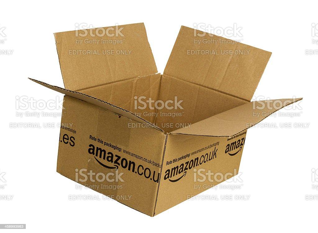 Amazon.com cardboard box royalty-free stock photo