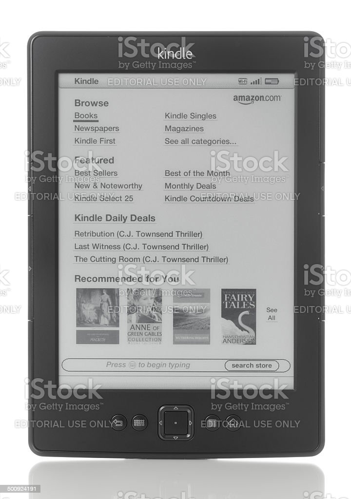 Amazon.com Kindle e-reader royalty-free stock photo