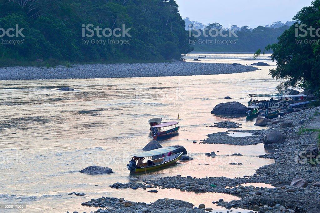 Amazonian Napo River in Ecuador stock photo