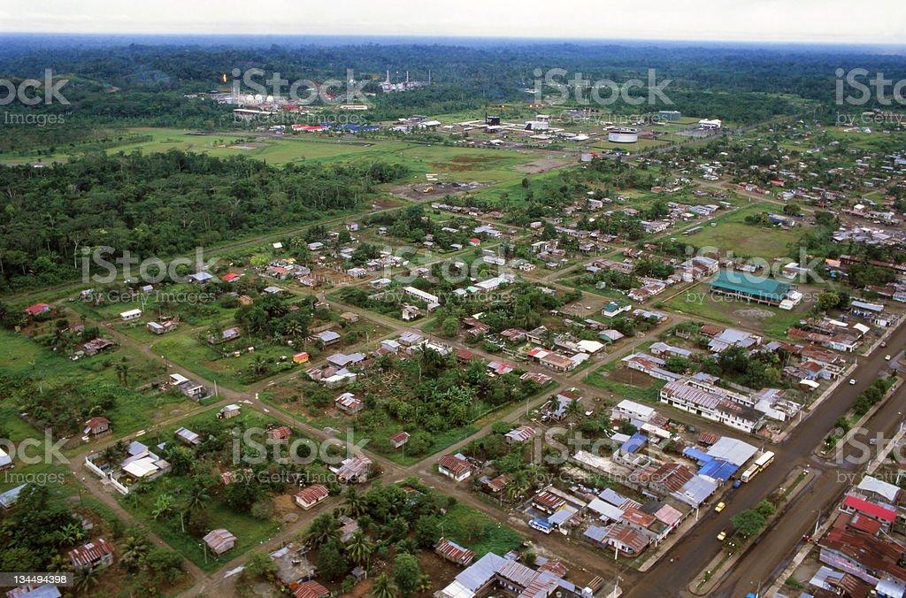 Amazonian oil town stock photo