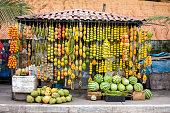 Amazonic traditional fruits on road shop