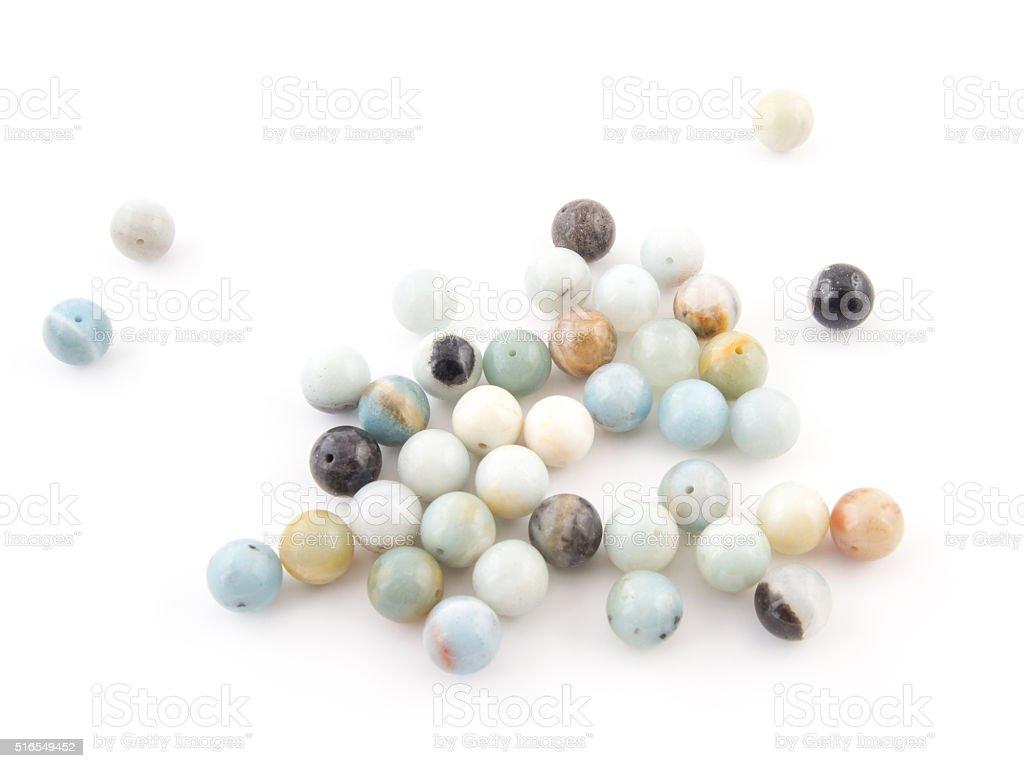 Amazonite natural crystals gem isolated on white background stock photo