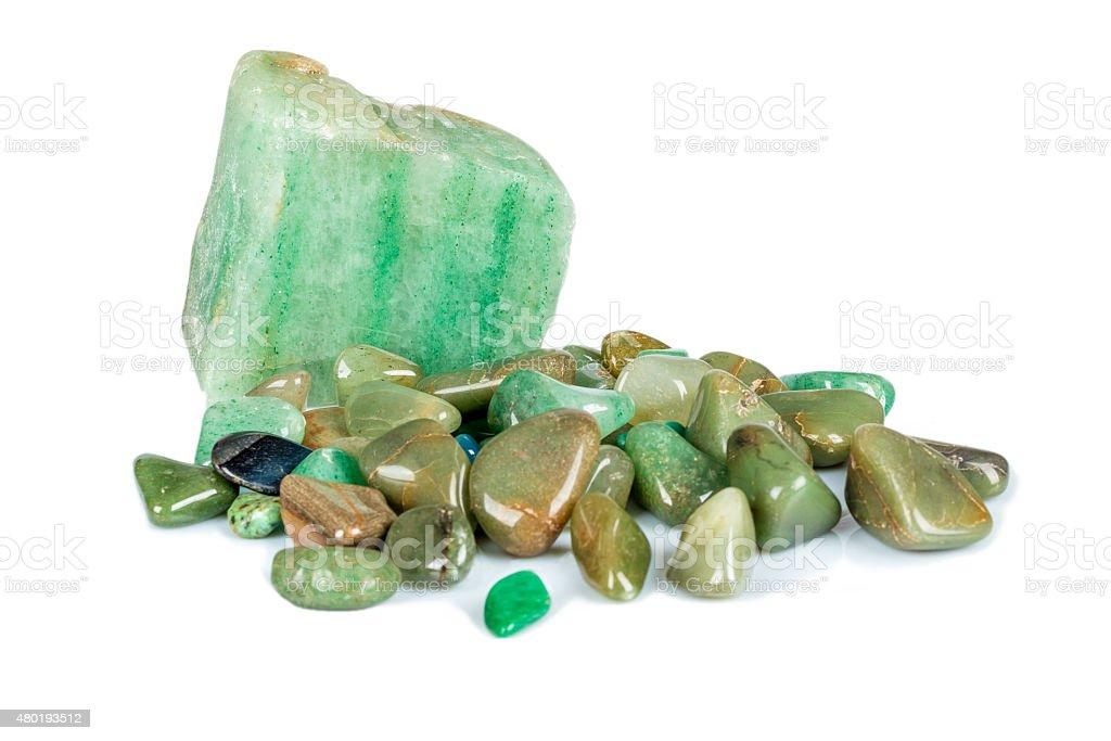 Amazonite quartz with other green gem stones stock photo