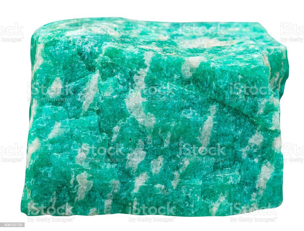 amazonite (green microcline feldspar) stone stock photo