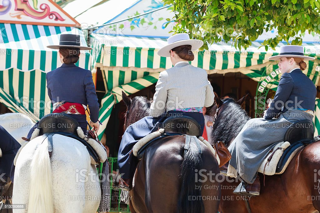 Amazons  at the April's Fair of Seville stock photo