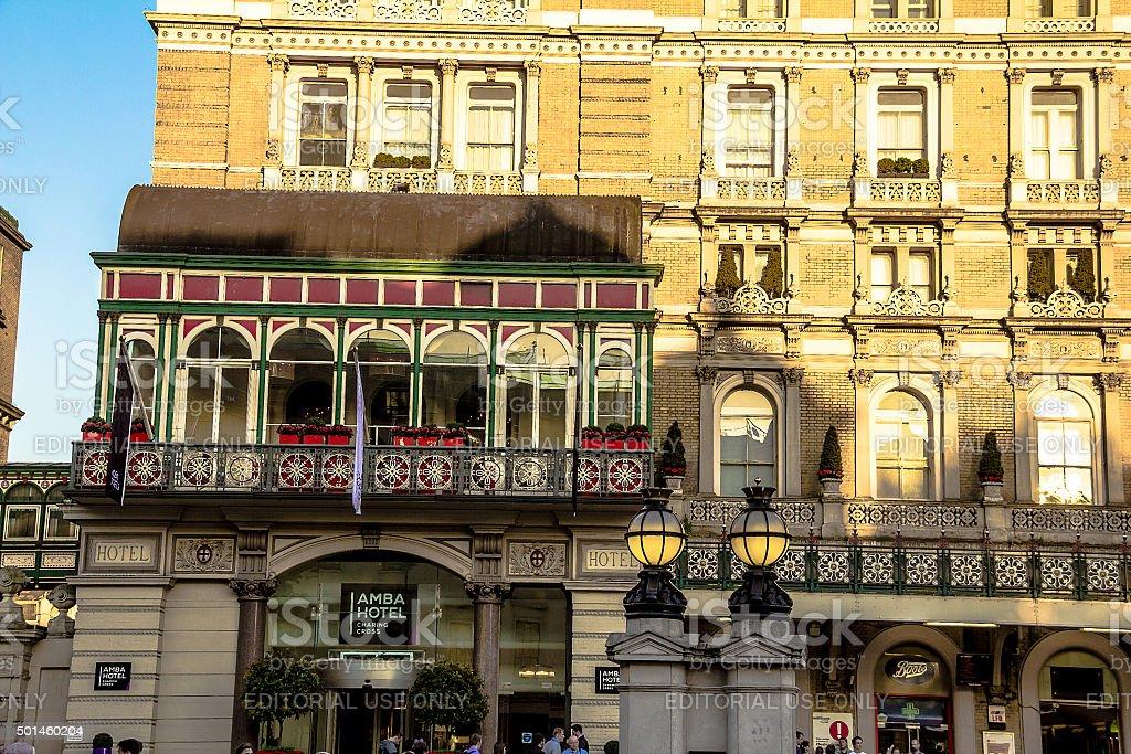 Amba Hotel  and Charing Cross, The Strand, London stock photo