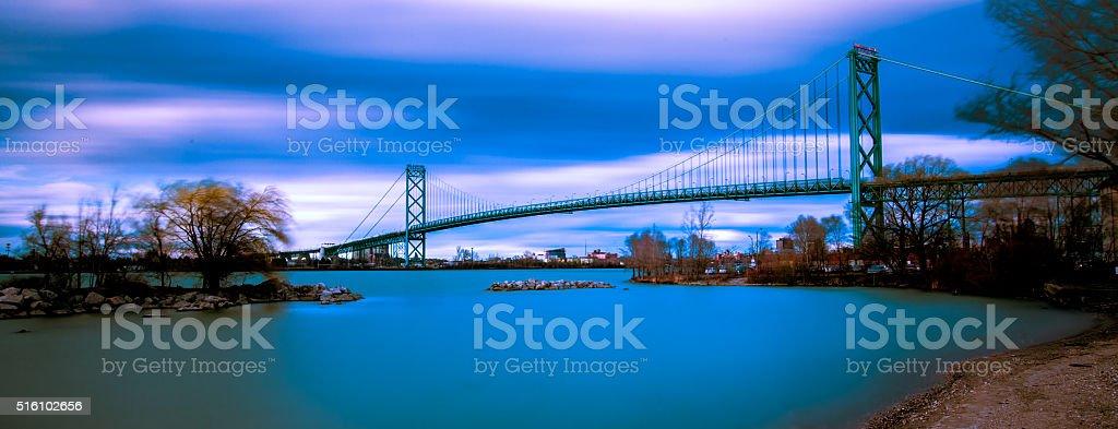 Ambassador Bridge at Dusk stock photo