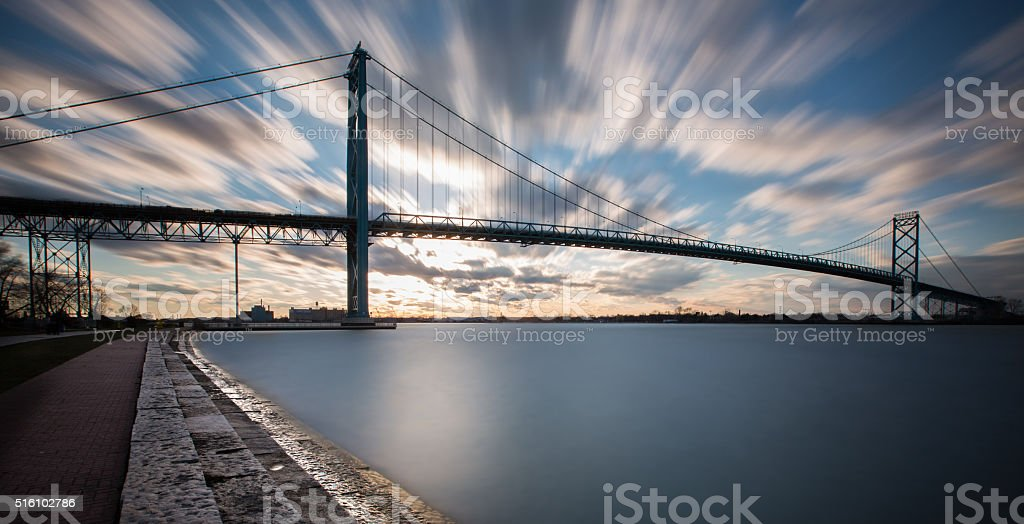 Ambassador Bridge - Long Exposure as the Sun Sets stock photo