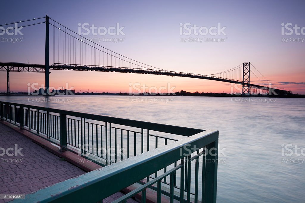 Ambassador Bridge Windsor Ontario Detroit Michigan stock photo
