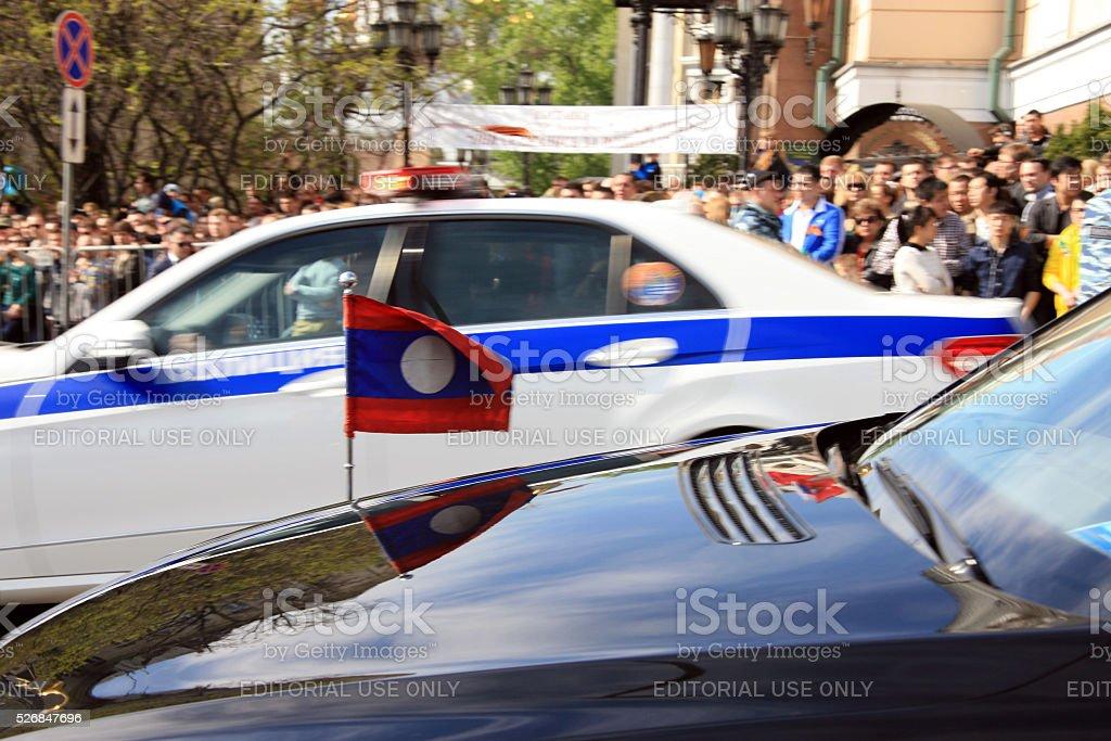 Ambassadorial cars stock photo