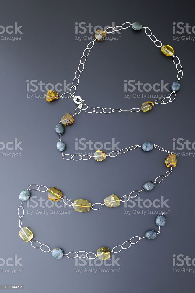 Amber and agate necklace stock photo